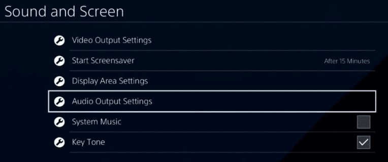 Audio Output Settings PS4